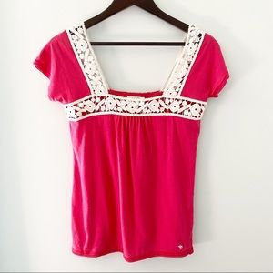 Abercrombie & Fitch Women Embroidered Pink Top